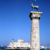 320 x 320: GREECE - DODECANESE - RHODES - COLUMN AND SCULPTURE