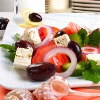 GREEK SALAD WITH TOMATOES, CUCUMBER, OLIVES AND ONION (HORIATIKI)