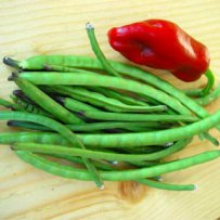 320 x 320: FOOD - GREEN BEANS AND A RED PEPPER