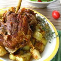 210 x 210: FOOD - ROASTED LAMB AND POTATOES