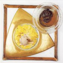 210 x 210: FOOD - DESSERT - CINNAMON ICE-CREAM WITH NOODLES, CHOCOLATE MOUSSE AND ORCHID DRINK (SALEP)