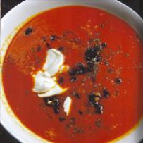 soups,soup with jogurt and red pepper,soup with jogurt and olives