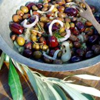 traditional greek cuisine, olives, vegetables, onions, healthy mediterranean food