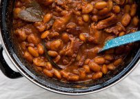 Giant Beans baked with Beer, Honey & Hot peppers