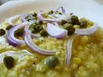 Fava from Santorini with Caper Sauce