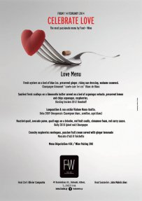 Valentine menu at Food + Wine