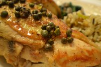 Chicken Breast cooked with Capers and Chunks of Lemon