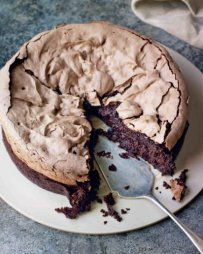 Double Baked Chocolate Meringue Brownie