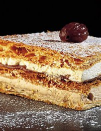 Chestnut Millefeuille, sweets, french desserts, tasty recipes with cream