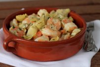Artichokes with Shrimps and Marjoram, healthy mediterranean recipes, vegetables, seafood