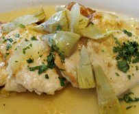 Chicken Simmered with Artichokes and Tomatoes in Egg-Lemon Sauce (Avgolemono)