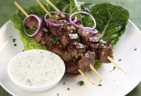 Skewered Lamb with Coriander Yogurt