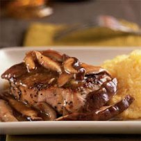Beef Steaks Sautéed with Mustard cream and Wild Mushrooms