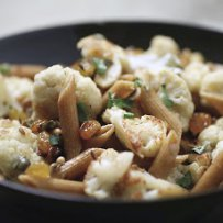 Penne  with Cauliflower, Raisins and Pine nuts