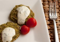 greek fava beans patties, tahini sauce, yogurt sauce