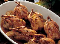 Quails, Stuffed with Chestnuts in a Vermouth sauce
