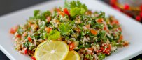 Bulgur salad with Peas, Rocket and Tomatoes