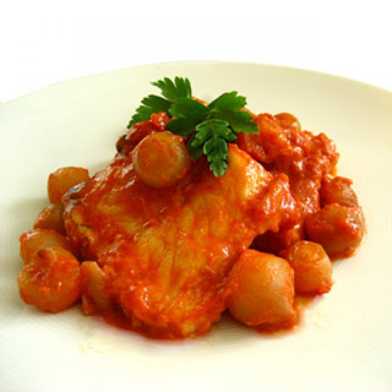 COD AND SHALLOTS IN TOMATO SAUCE