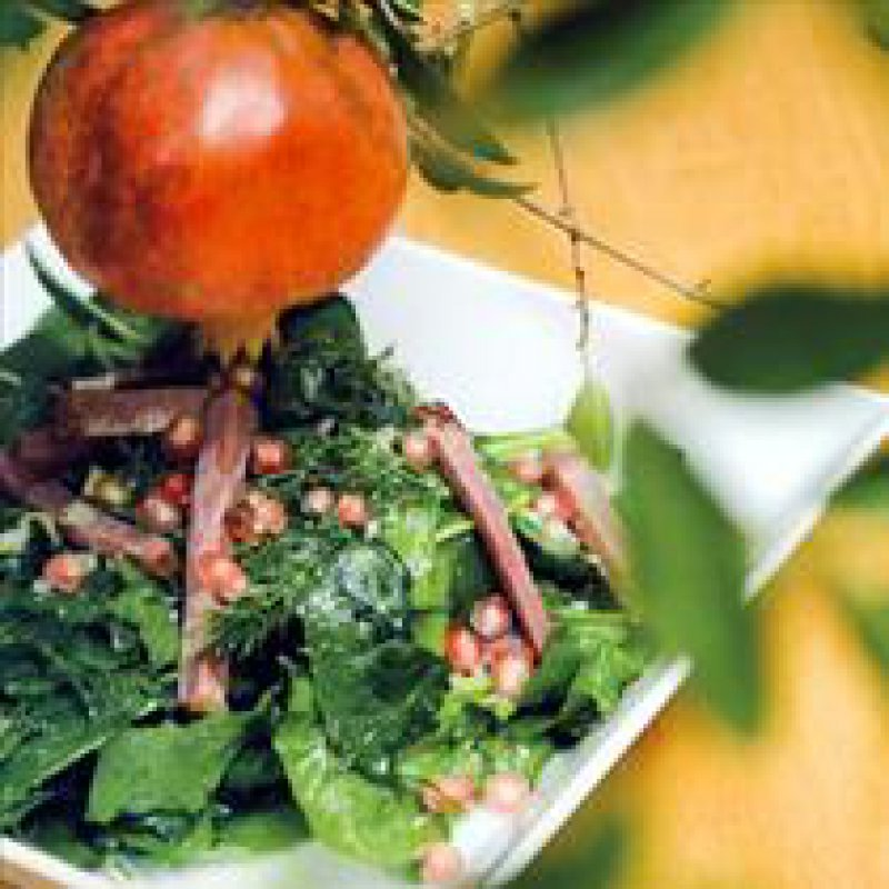 210 x 210: FOOD - SALAD WITH SMOKED PORK AND POMEGRANATE