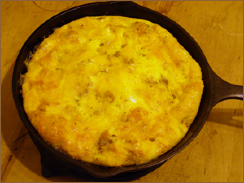 Baked Omelet with Chestnuts and Feta