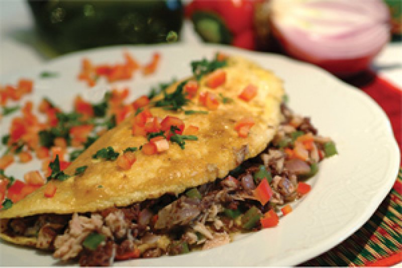 Omelet with Tapenade, Peppers & Tuna