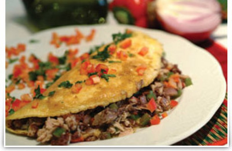 Eggs: Omelette with  Kalamata Olive Tapenade, Tuna, Peppers & Onions
