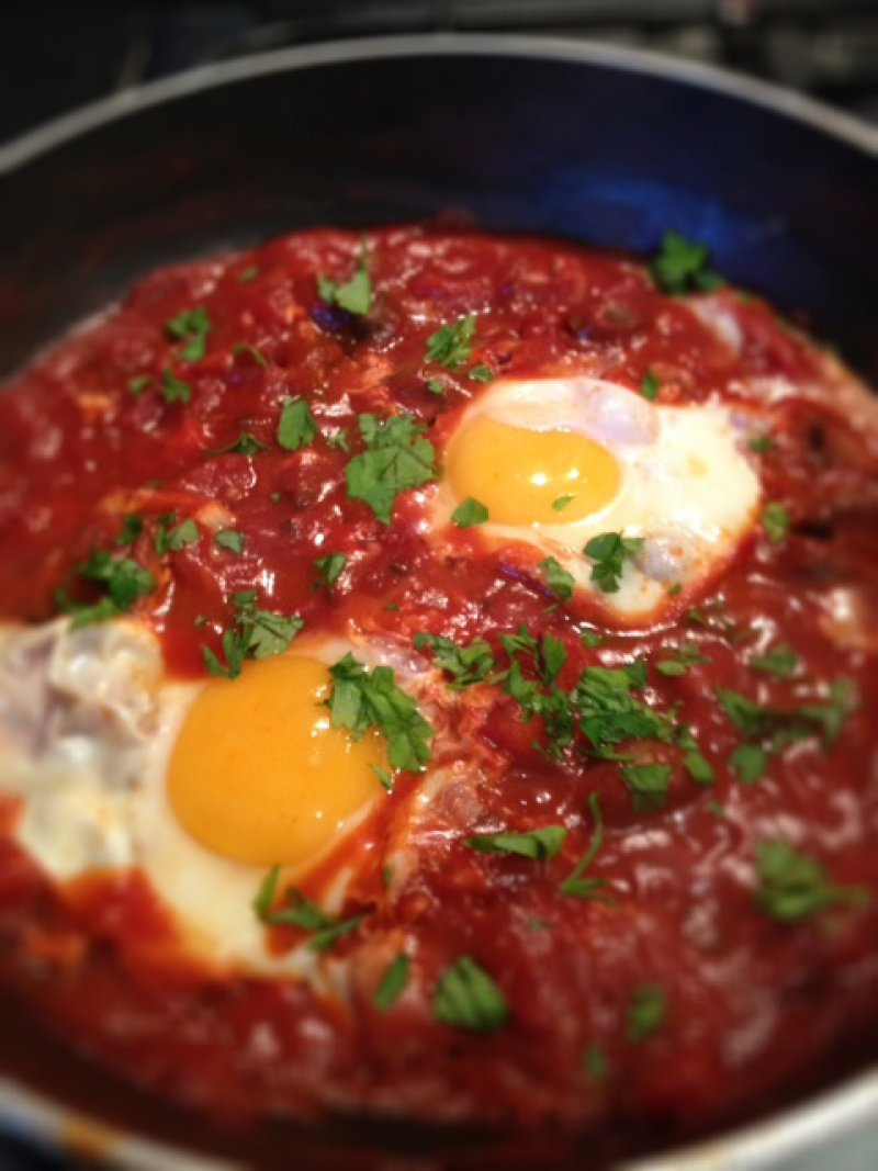 Fried Eggs with Tomato Sauce