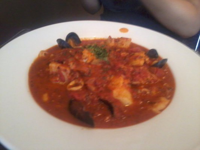 Potatoes with Mussels, Calamari and Tomato