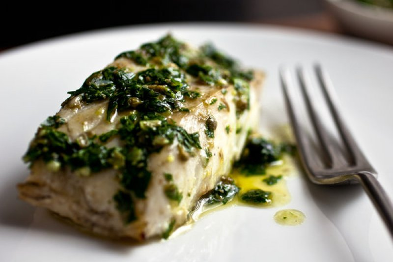 Cod with parsley sauce
