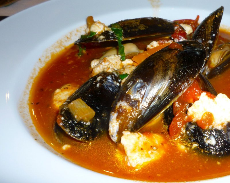 mussels, wine tomato sauce, feta cheese, delicious greek seafood