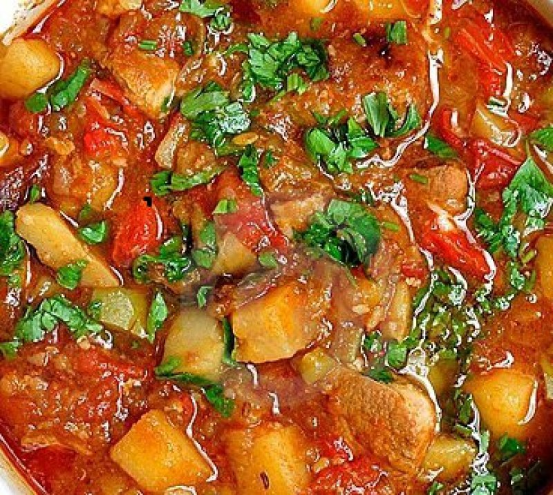 Goulash soup with meat and vegetables from Slovenia