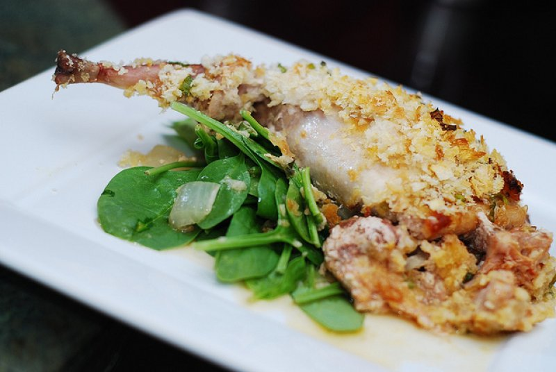 Roast Rabbit with Fresh herbs, Katiki Cheese and Pine nuts