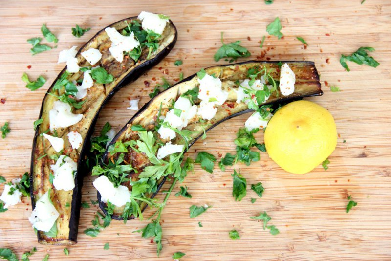 Chios Eggplants with Feta Cheese and Basil