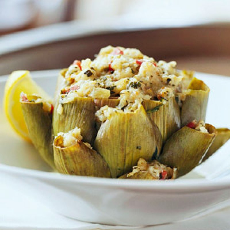 Artichokes Stuffed with Roasted Red Peppers and Feta