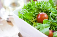 healthy food, salad with nuts, diet meals