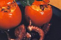 STUFFED TOMATOES (DOMATES GEMISTES) WITH OCTOPUS