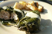 Chicken with Vine Leaves and Goat Cheese