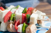 chicken kebab with haloumi from Cyprus