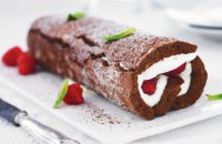 Chocolate Roll with Raspberries