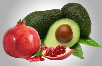 Dip with avocado and pomegranate seeds