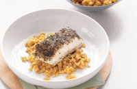 Sea bass with Lentils and Saffron Sauce
