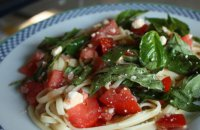 greek salad pasta ,tomatoes,basil,pasta, vegetables