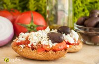 Rusks with tomatoes and Greek traditional cheese kopanisti from Mykonos
