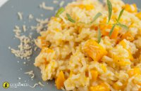 Risotto with pumpkin, leeks, peppers & coriander