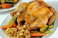 Chicken Stuffed with Rice and Dried Fruits and Nuts