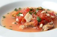 Mussels Simmered with Tomatoes and Feta (Salonika Mydia Saganaki)