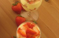 desserts with samos wine, chilled strawberry dessert, mascarpone, fruit creme