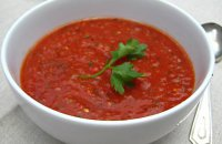 Gazpacho with Roast Cherry Tomatoes, Coriander and Xinomitzithra