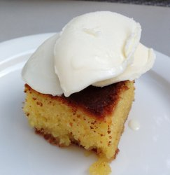 Ravani Cake with Saffron Ice Cream